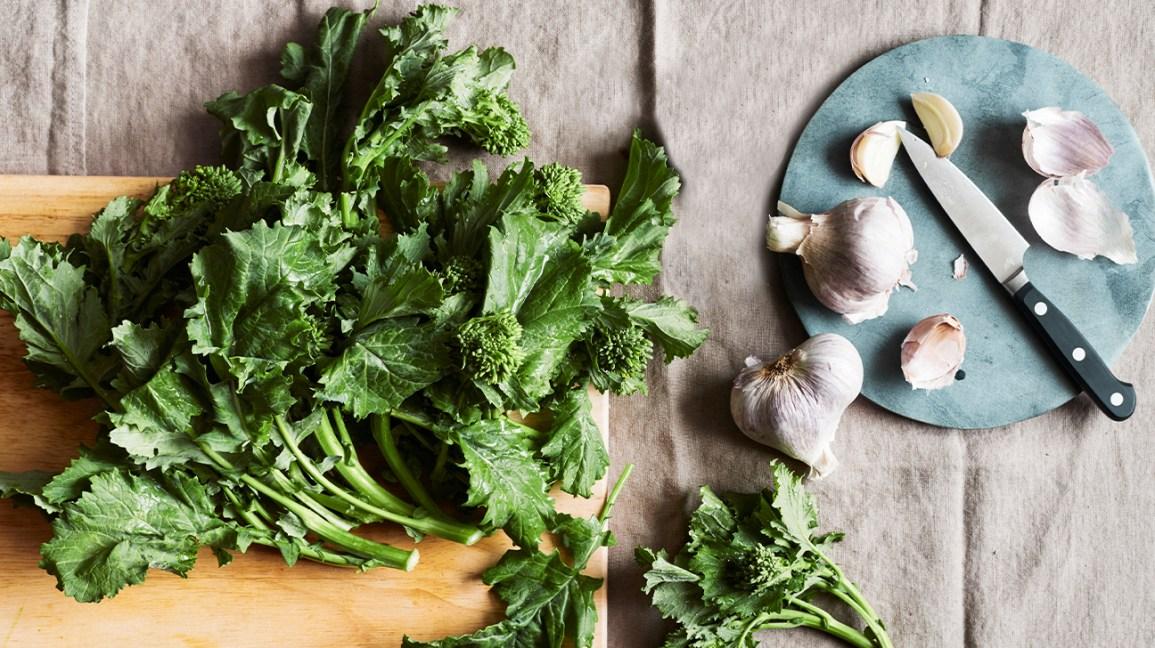 Mustard leafy greens and garlic