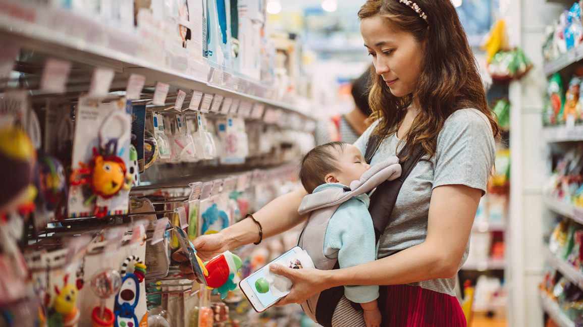mother shopping for best toys for baby