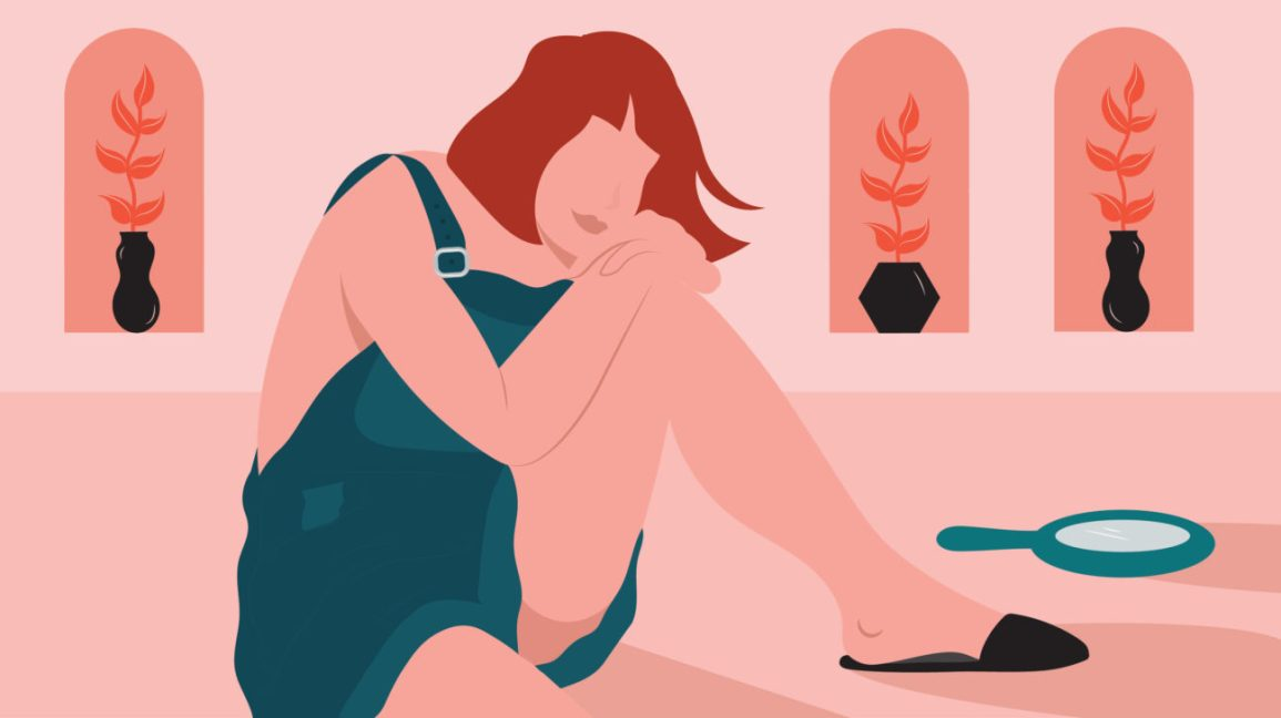 illustration of a woman thinking about childbirth