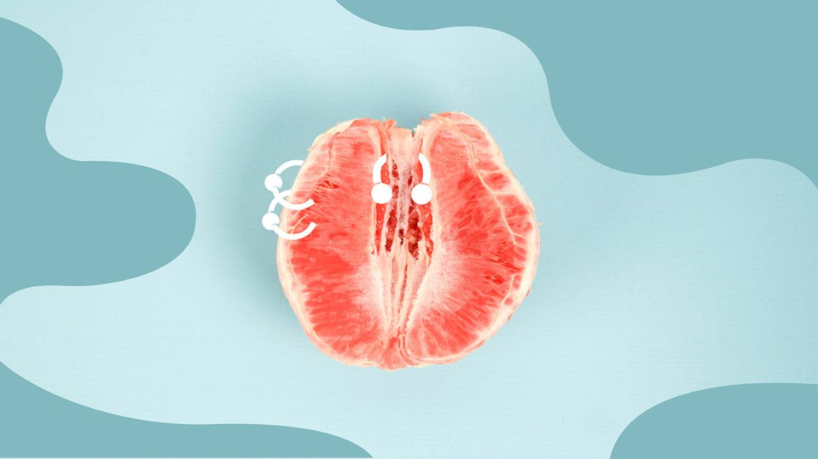"Image of a peeled orange against a light blue background. The fruit has two illustrated piercings along the left ""labia"" and one illustrated ""clitoral glans"" piercing."