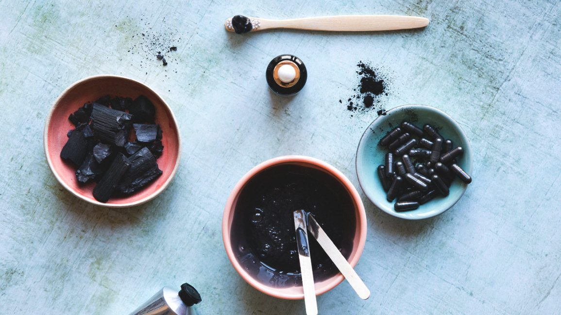 Ingredients for a DIY charcoal mask
