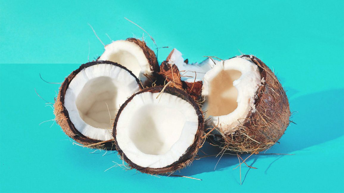 fresh coconuts that have been cut open