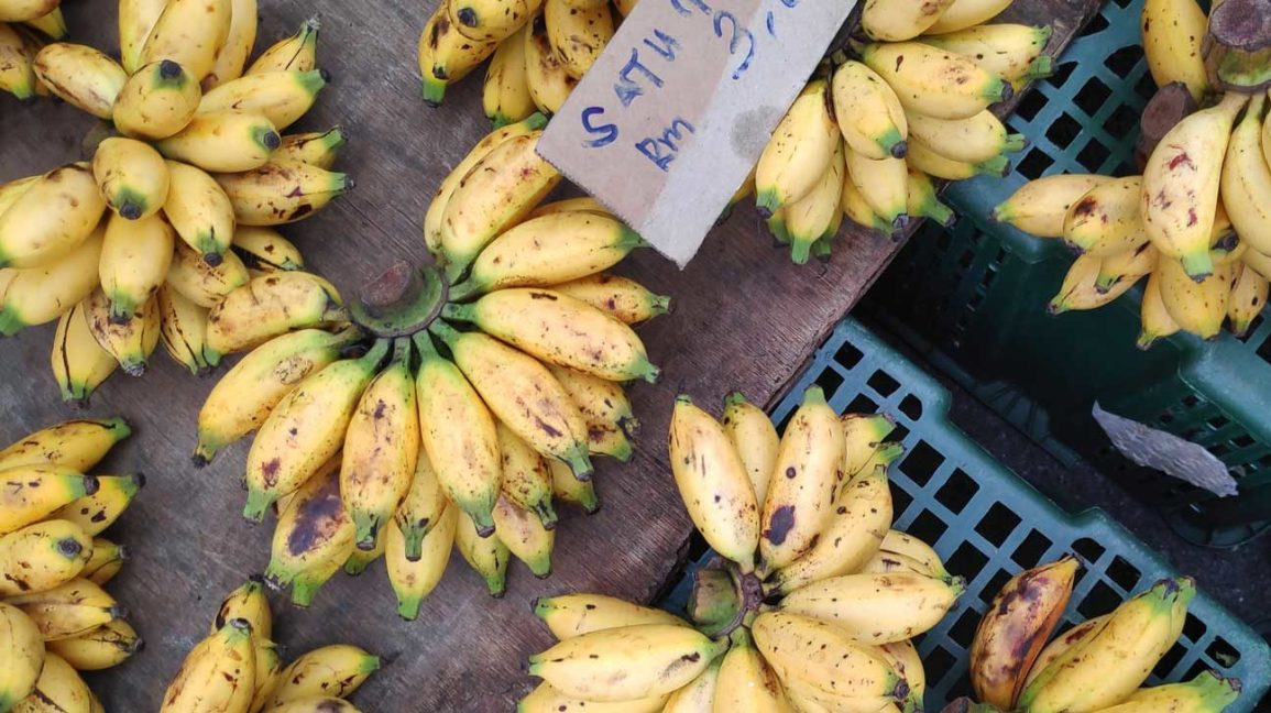 small bananas for sale at a market