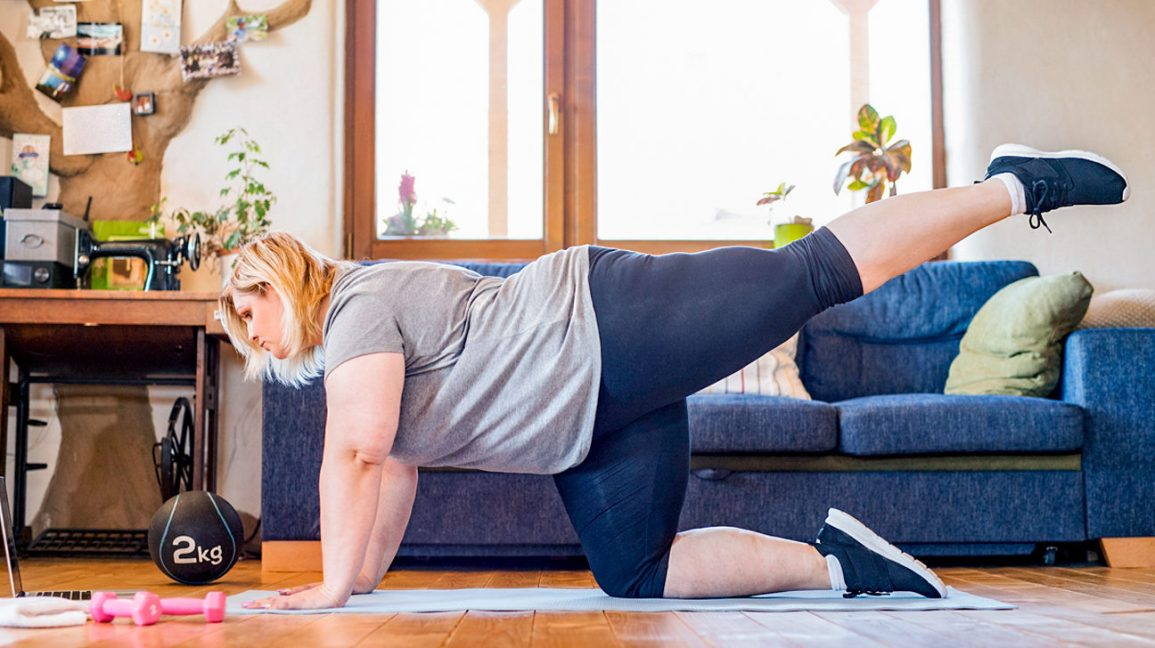 Woman doing home exercise