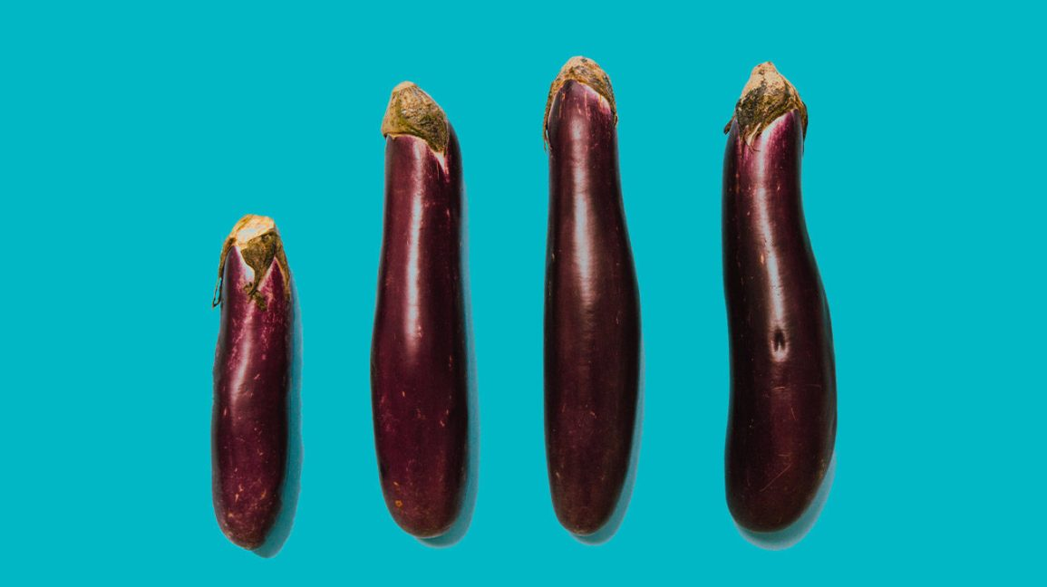 "four eggplants of varying size to represent the difference between ""growers"" and ""showers"""