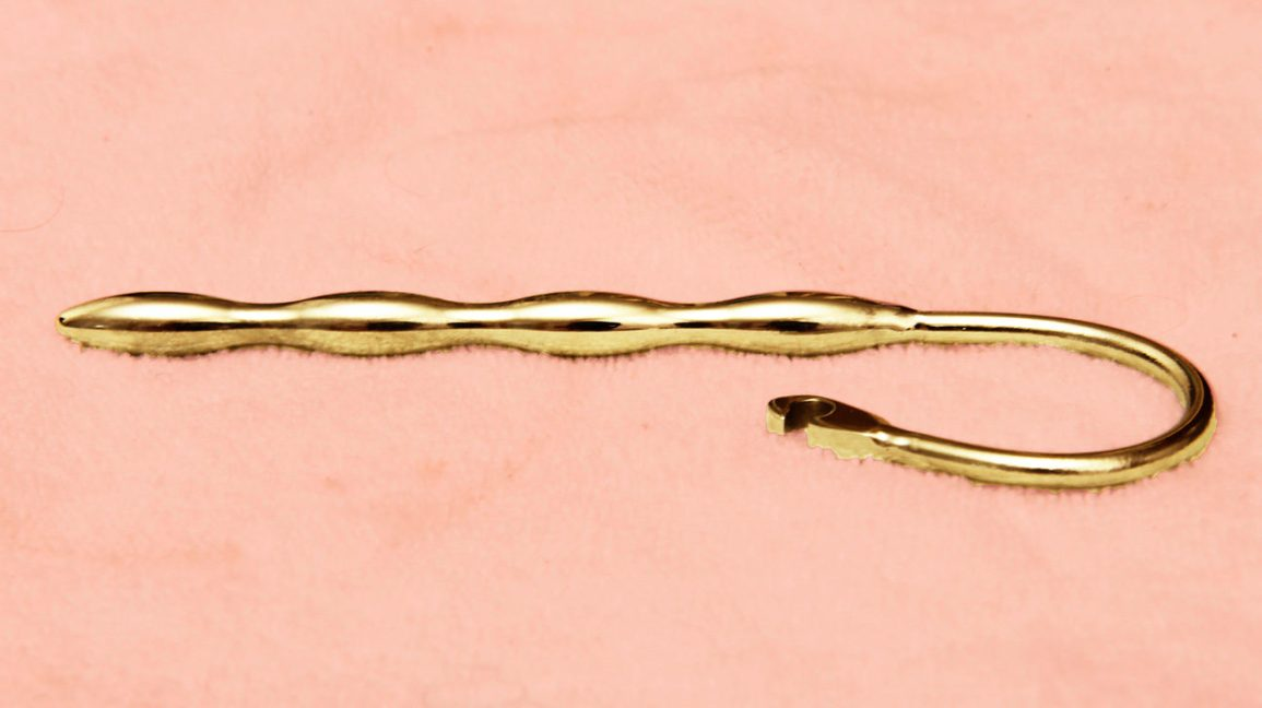 gold metal catheter used for urethral sounding