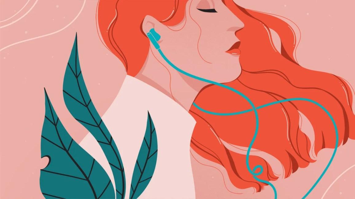 ilustração de uma mulher com cabelos ruivos e fones de ouvido azuis contra um fundo rosa