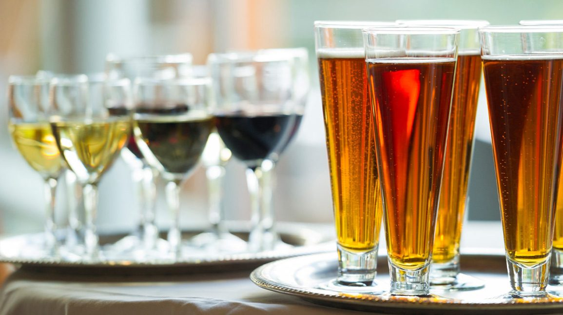 Glasses with beer and wine