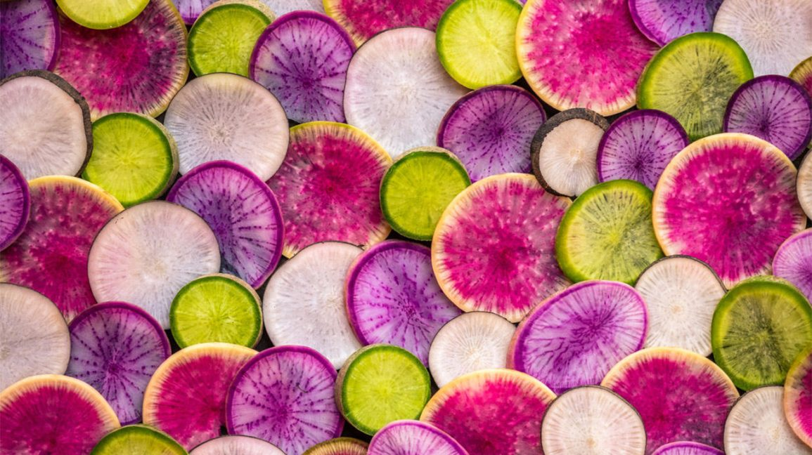 Colorful slices of daikon radishes