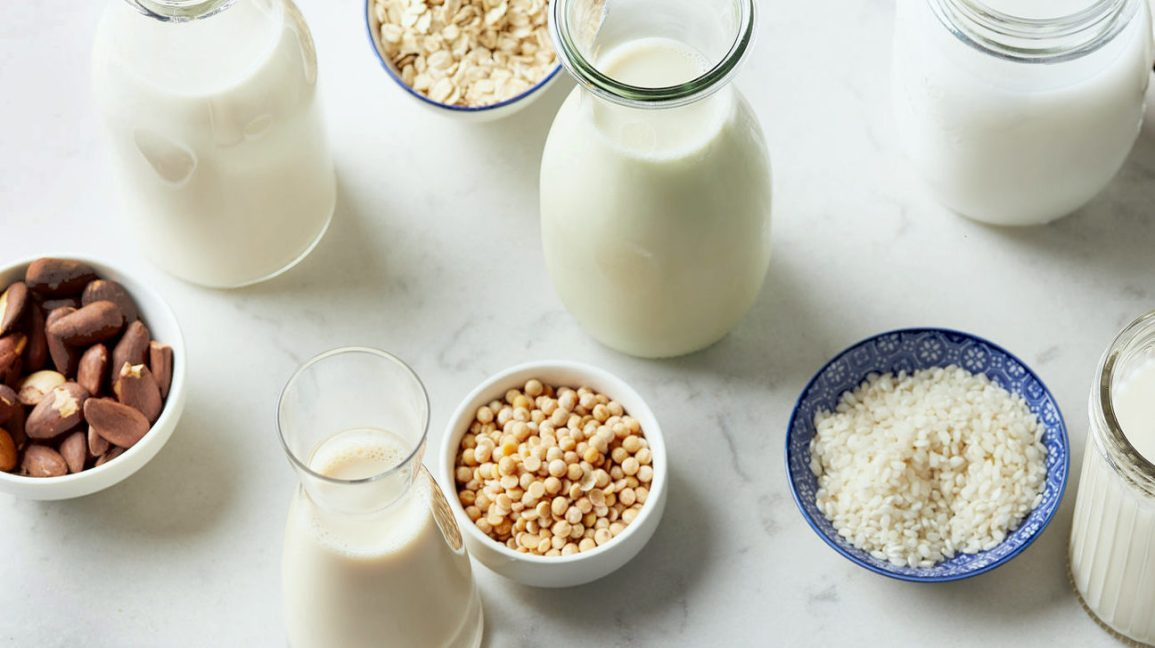 jars of soy, almond, and oat milk