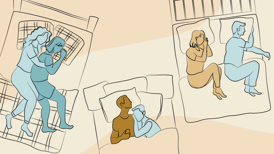 Illustration of three different couples in three different sleeping positions, including the spoon, shingles, and fetal positions