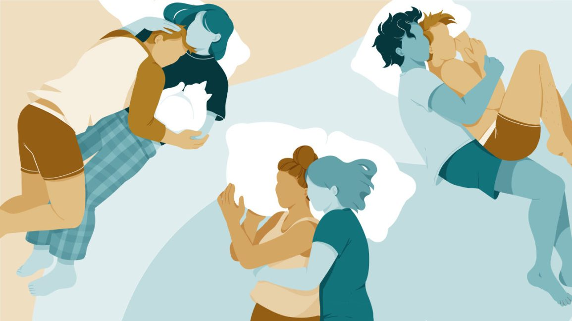 illustration of three different couples sleeping in three different spooning positions