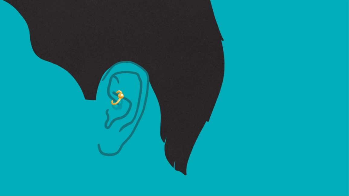 An illustration showing a person with a daith piercing in the fold of skin above their ear canal.