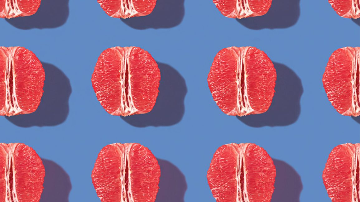 grapefruit pattern on blue background