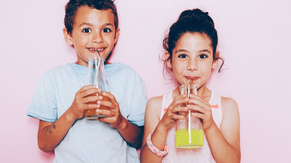 kids drinking soda or fruit juice