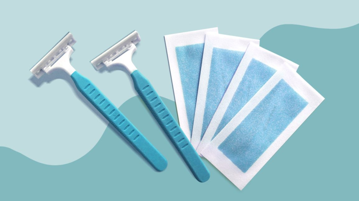 two blue disposable razors alongside four blue at-home wax strips set against a light blue color-blocked background
