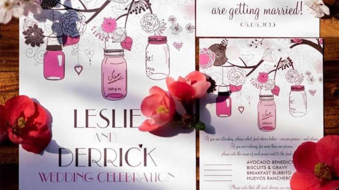 Leslie and Derrick's wedding invitations