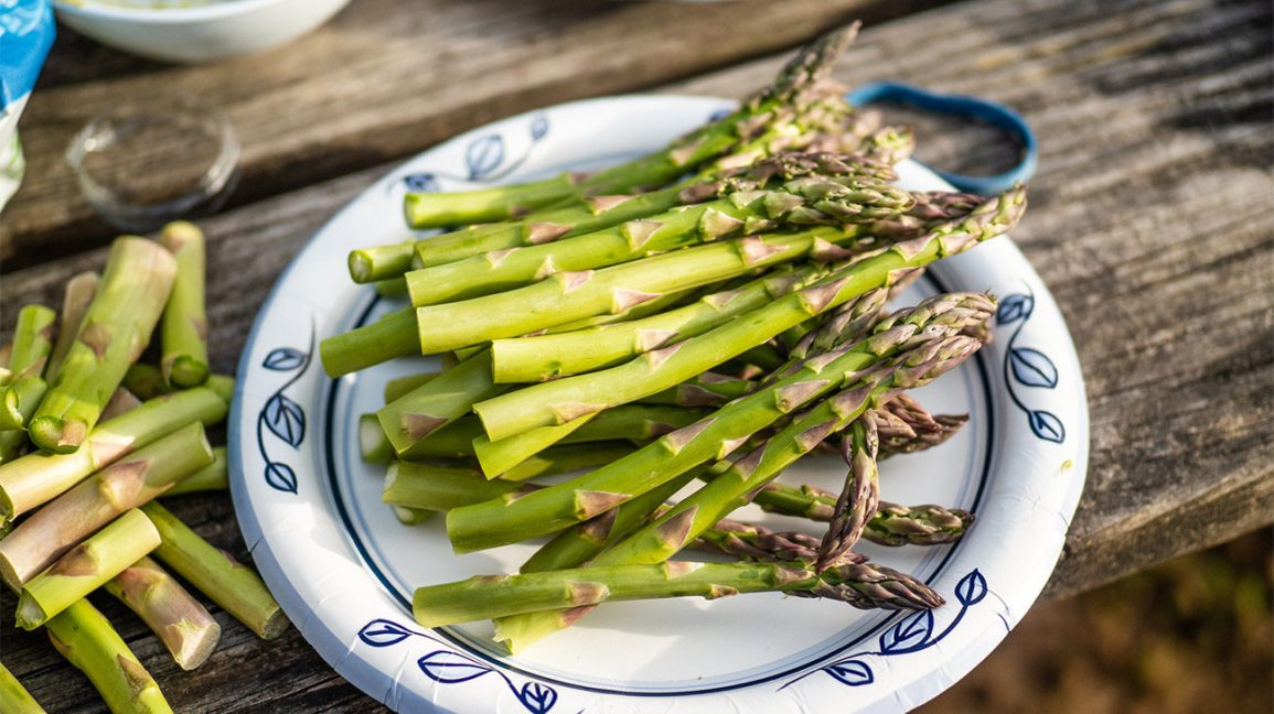 A plate of green asparagus