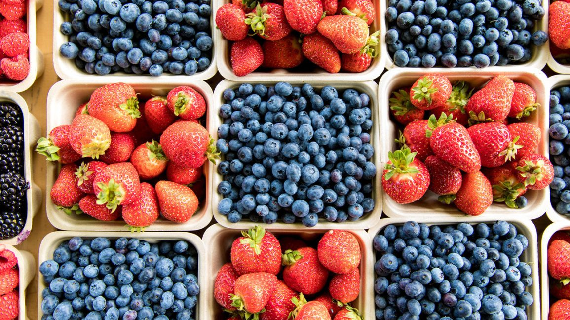 Strawberries and blueberries to help you rehydrate