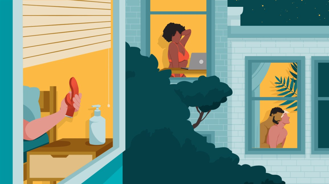 illustrated view of three houses affected by the coronavirus pandemic, each revealing a different window scene. in the far left window, a hand is reaching for a pink vibrator, in the middle window a person is wearing a coral bra and underwear while on a video call with their separately self-isolated partner, and in the far right window a quarantined couple embrace