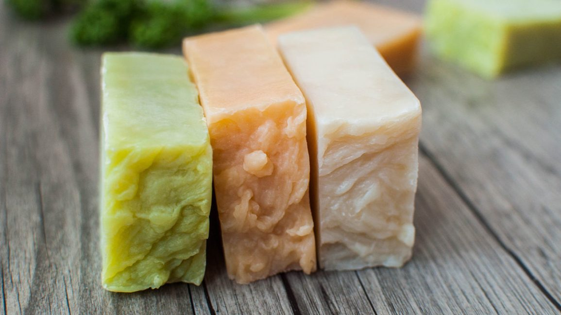 three homemade bars of soap
