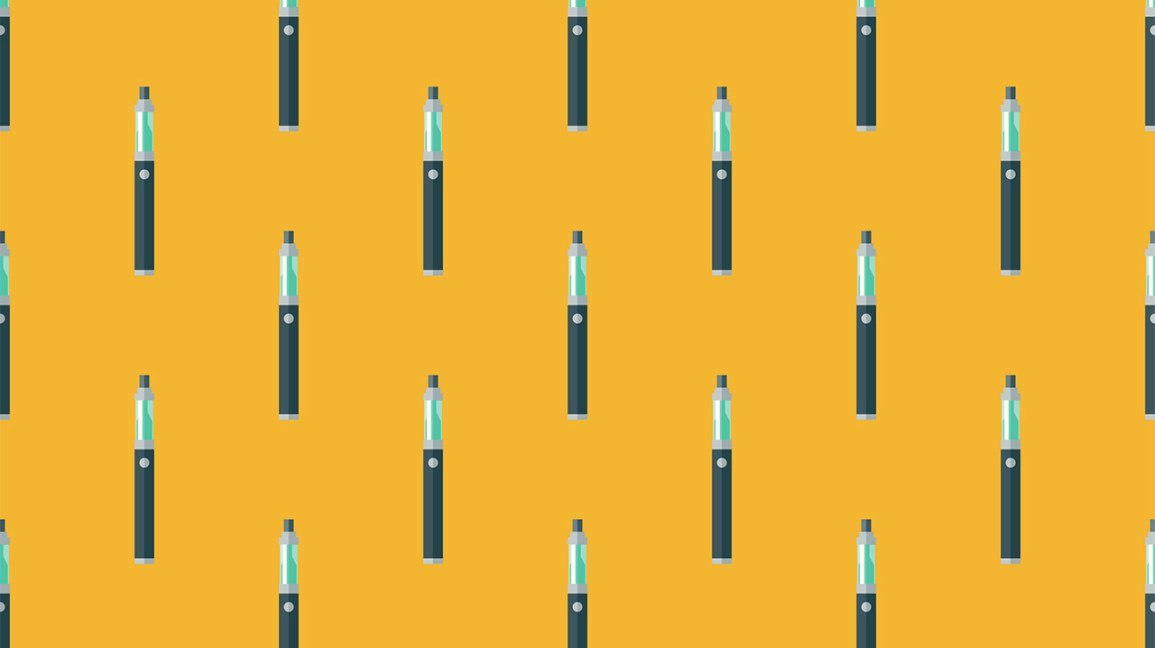 illustrated vape pens against yellow backdrop