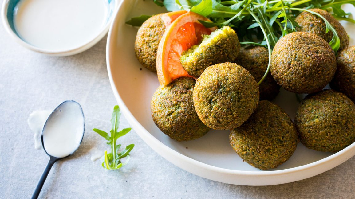 A plate with falafel