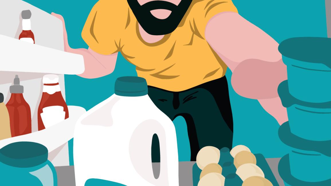 man reaching for ingredients in fridge