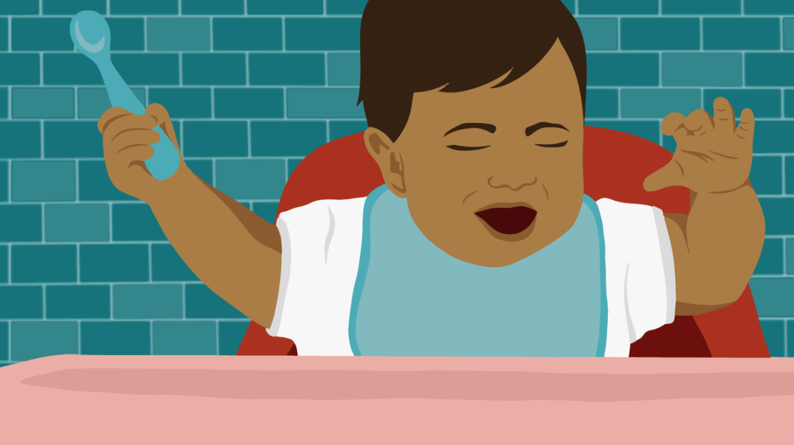 Illustration of upset baby in high chair