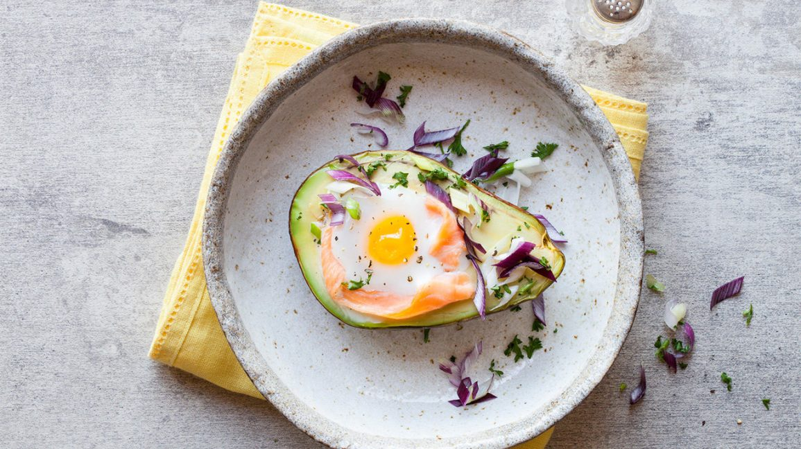 stuffed avocado with smoked salmon and egg
