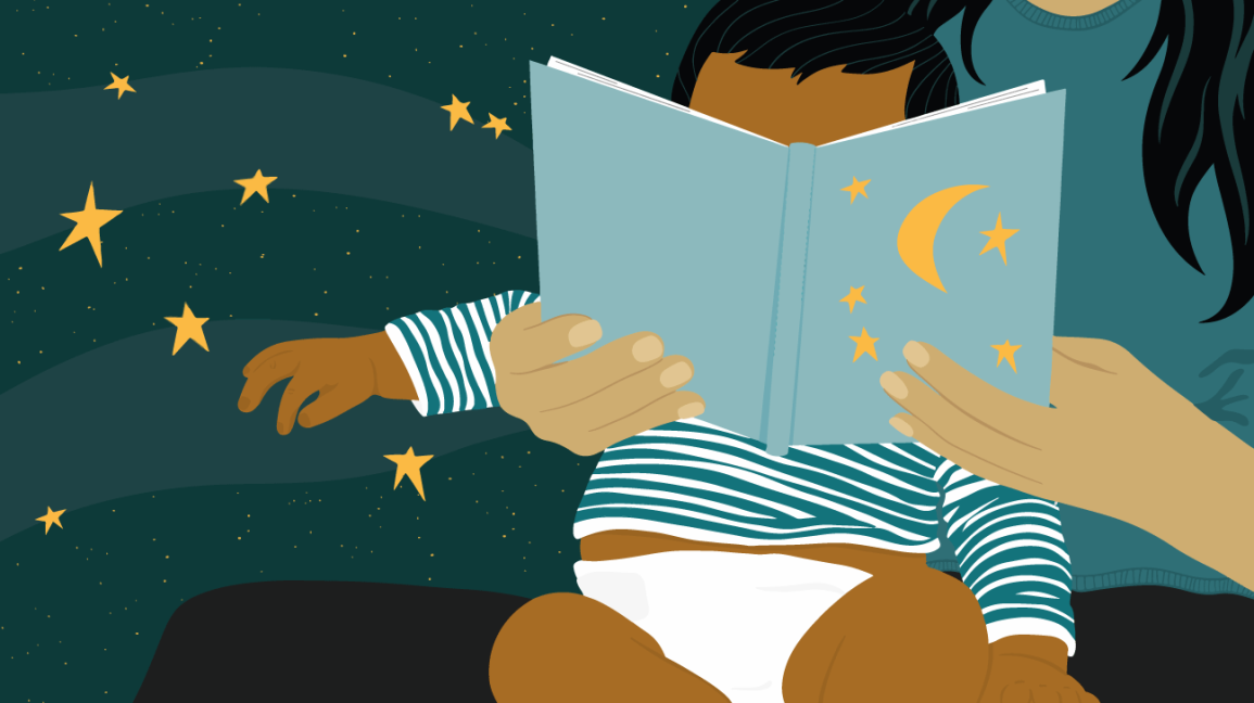 Illustration of parent reading to baby