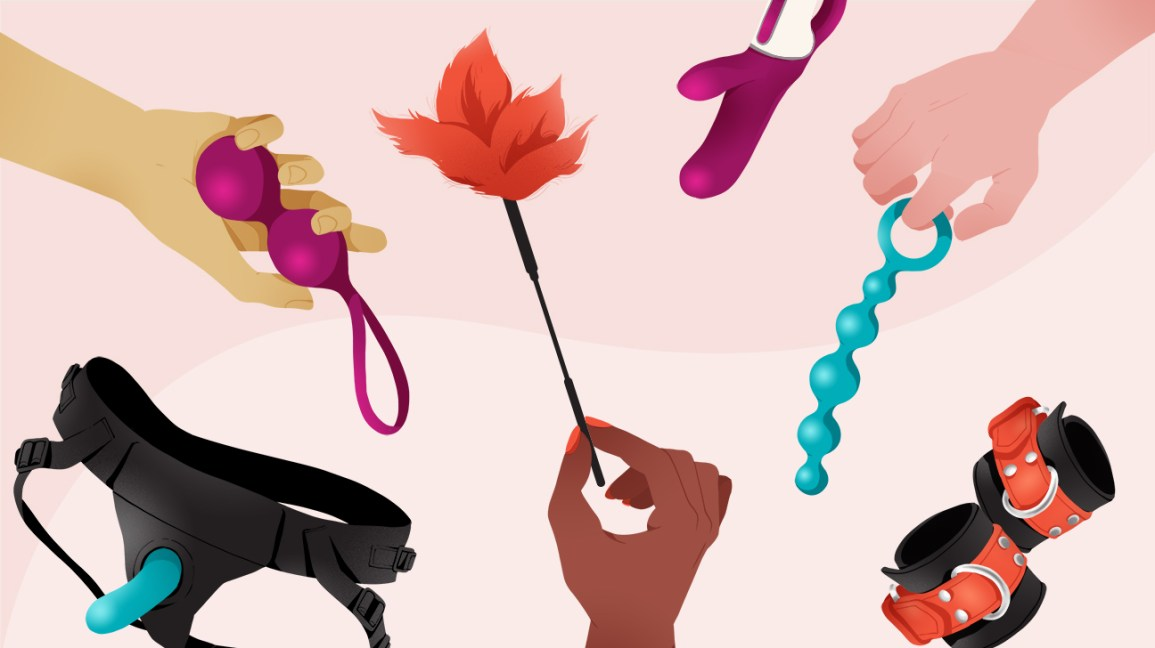 illustration of six different sex toys set against a color-blocked muted and pastel pink background separated by a wavy line. three toys — including a black strap-on harness, red leather cuffs, and a mauve rabbit vibrator — are floating in space, while the other three — including a set of mauve Ben Wa balls, a red feather teaser, and a set of sky blue anal beads — are each held in the hand of a different out-of-view person.