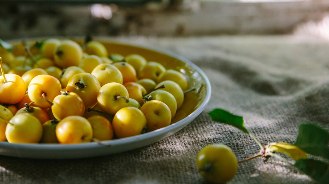 Crab apples on a plate