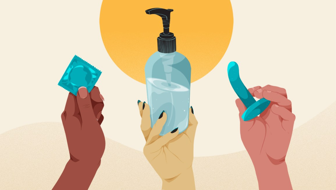illustration of three hands — each belonging to a different person — holding up different pegging products, including a condom, a bottle of water-based lube, and a curved dildo