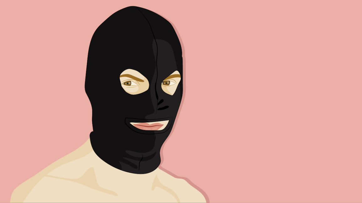 illustration of a person wearing a black bondage hood against a muted pink background