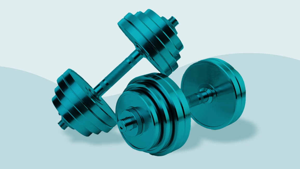 two metallic blue dumbbells sitting against a light and pastel blue color-blocked background divided by a wavy line
