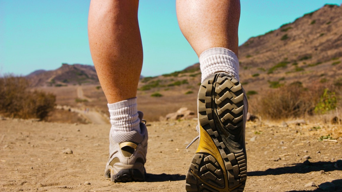 A view of a person's calves and feet as they walk along a hiking trail.