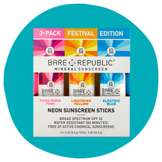 3-pack of neon colored sunscreen sticks by Bare Republic