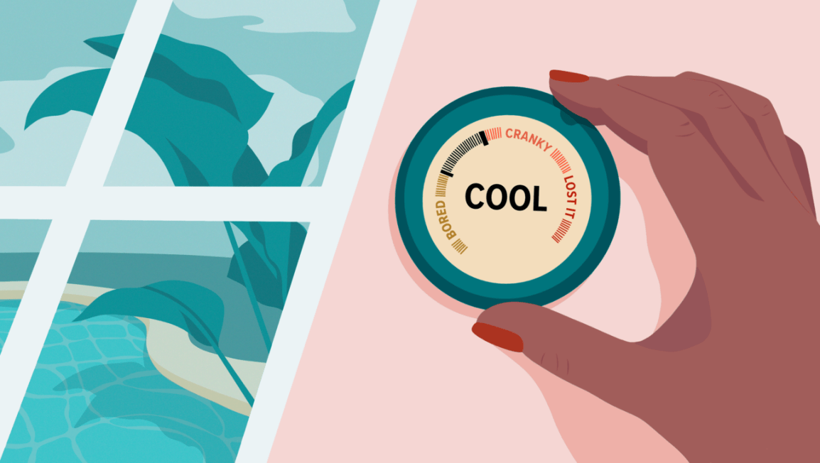 illustration of thermostat set to cool