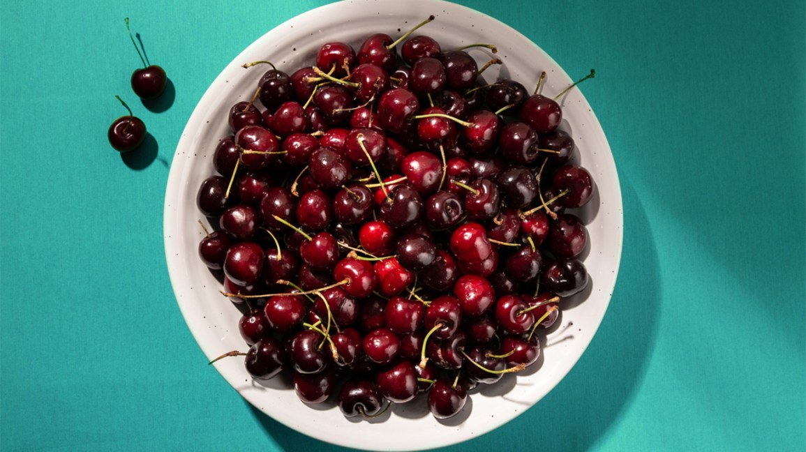 Bowl of cherries rich in flavonoids (vitamin P)