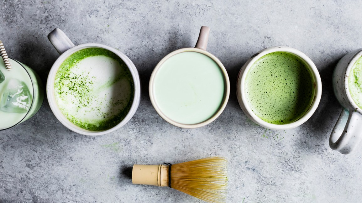 several mugs of matcha tea