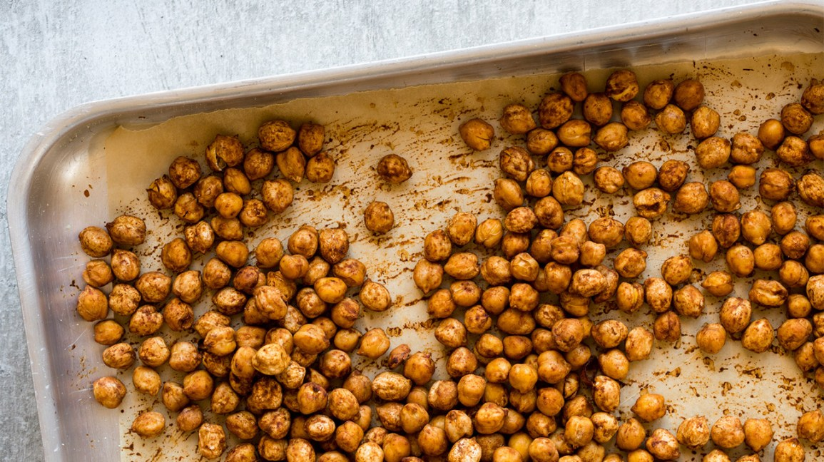 roasted chickpeas in a pan