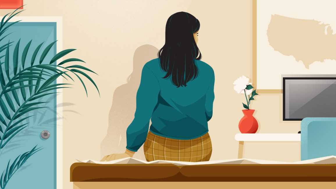 illustration of woman sitting on exam table in abortion clinic