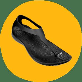 Os chinelos Sexi Flip e Serena da Croc vêm em preto