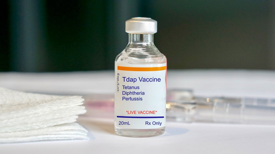 The Tdap Vaccine in a glass vial