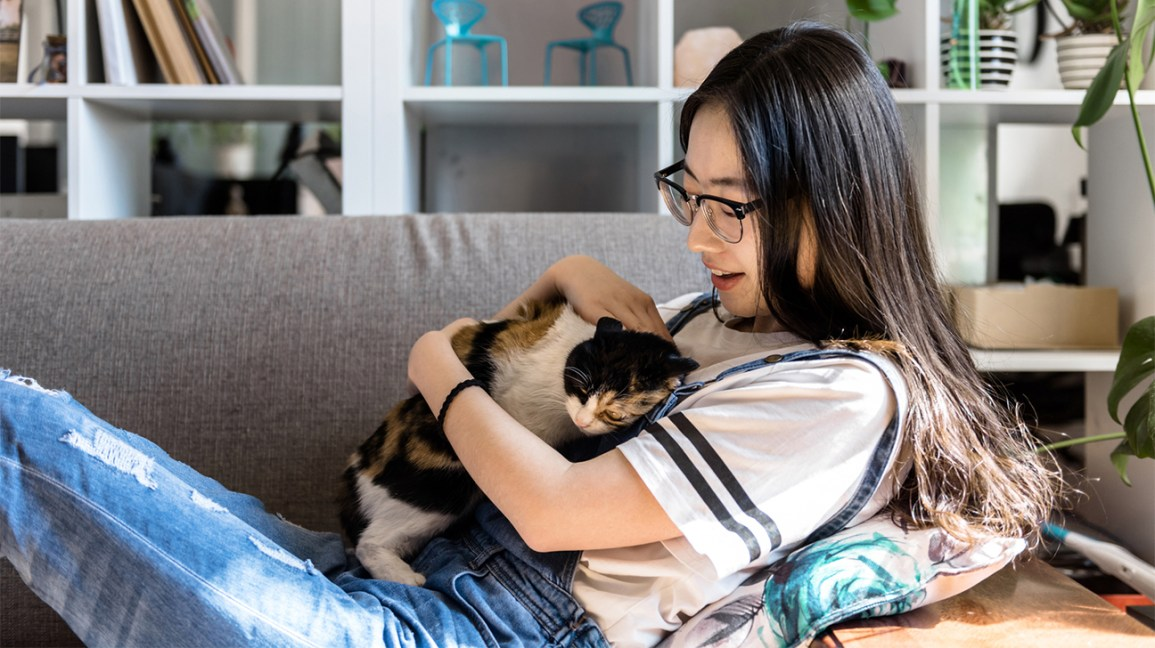 woman cuddling cat on sofa