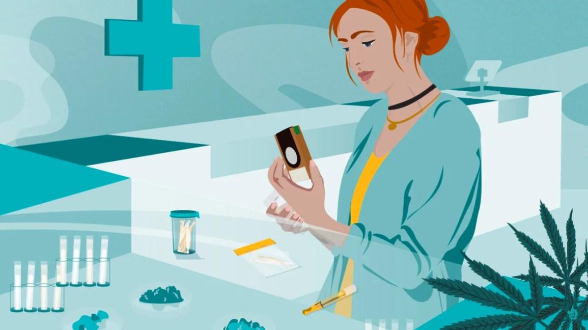 donna che guarda i prodotti al banco del dispensario