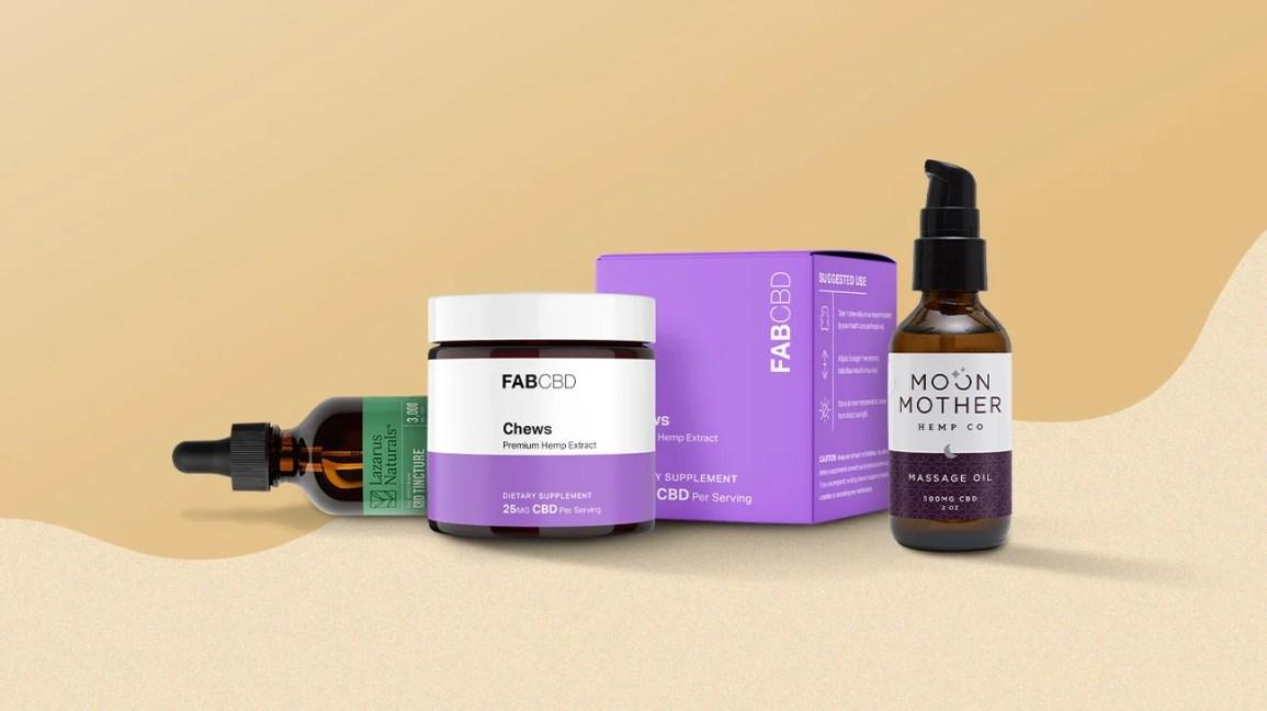 Fab CBD Mastica, olio CBD Lazarus Naturals e olio da massaggio Moon Mother Mother