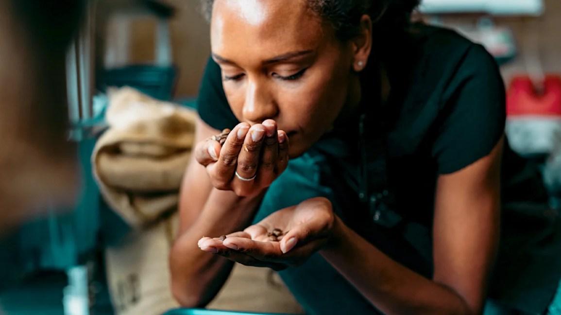 Uma mulher curvada e sentindo o cheiro de grãos de café nas mãos.
