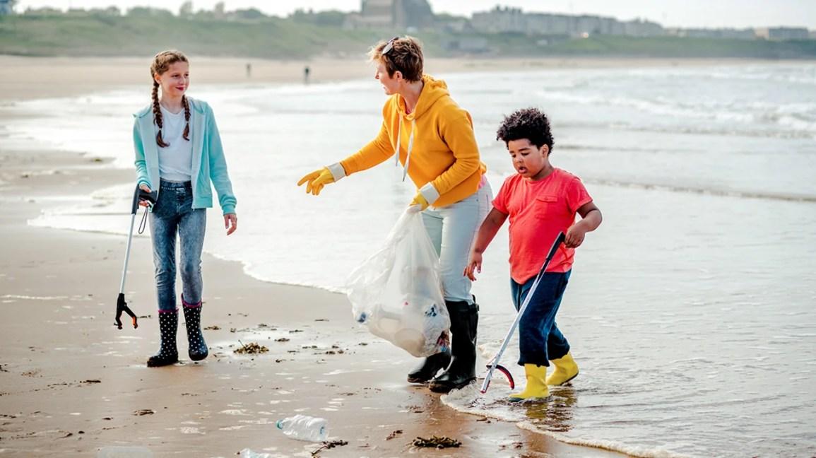 kadin, temizlik, plaj, ile, çocuk